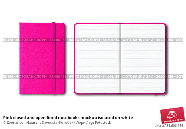 Pink closed and open lined notebooks mockup isolated on white. Стоковое фото, фотограф Zoonar.com/Laurent Davoust / age Fotostock / Фотобанк Лори