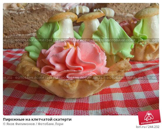 Пирожные на клетчатой скатерти, фото № 244232, снято 5 апреля 2008 г. (c) Яков Филимонов / Фотобанк Лори