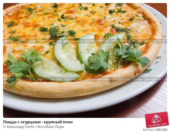 Пицца с огурцами - крупный план, фото № 240600, снято 23 января 2017 г. (c) Александр Fanfo / Фотобанк Лори