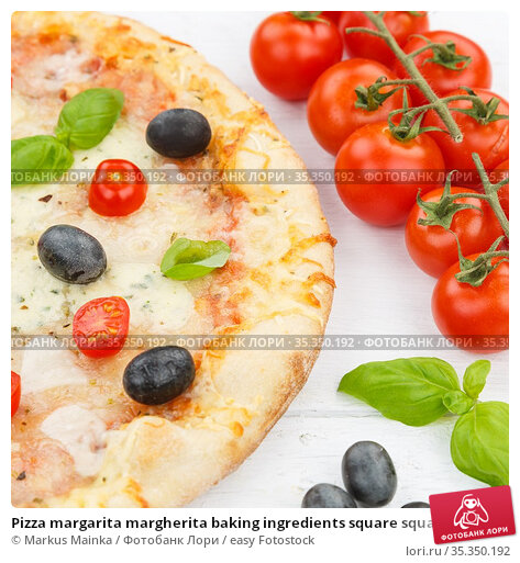 Pizza margarita margherita baking ingredients square squared on wooden... Стоковое фото, фотограф Markus Mainka / easy Fotostock / Фотобанк Лори