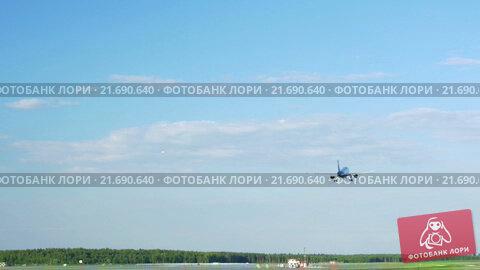 Купить «Plane Fly Up Over Take-Off Runway», видеоролик № 21690640, снято 11 октября 2015 г. (c) Данил Руденко / Фотобанк Лори