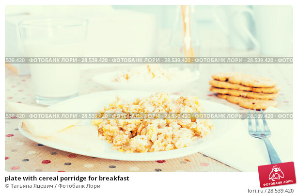 Купить «plate with cereal porridge for breakfast», фото № 28539420, снято 26 октября 2016 г. (c) Татьяна Яцевич / Фотобанк Лори