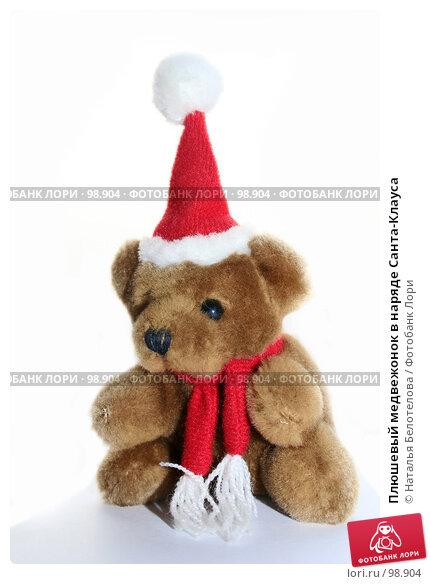Плюшевый медвежонок в наряде Санта-Клауса, фото № 98904, снято 28 сентября 2007 г. (c) Наталья Белотелова / Фотобанк Лори
