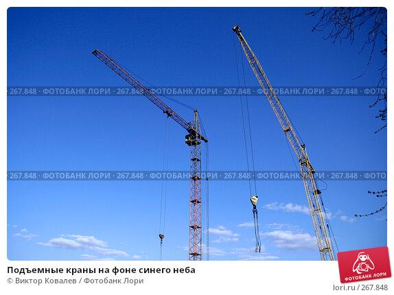 Подъемные краны на фоне синего неба, фото № 267848, снято 26 апреля 2008 г. (c) Виктор Ковалев / Фотобанк Лори