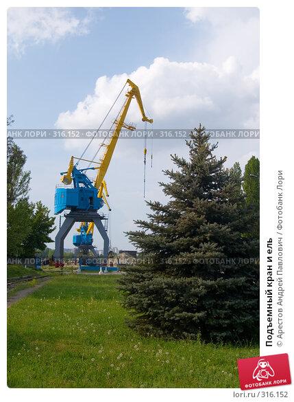 Подъемный кран и ель, фото № 316152, снято 2 мая 2008 г. (c) Арестов Андрей Павлович / Фотобанк Лори