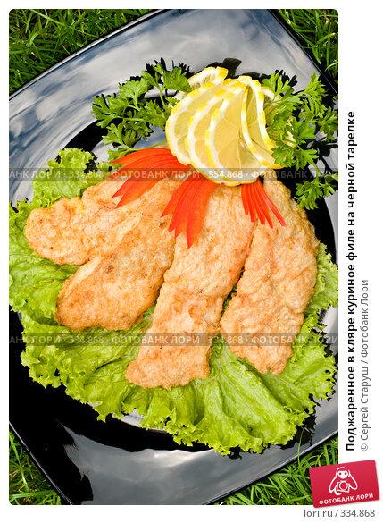 Поджаренное в кляре куриное филе на черной тарелке, фото № 334868, снято 22 июня 2008 г. (c) Сергей Старуш / Фотобанк Лори