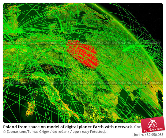 Poland from space on model of digital planet Earth with network. Concept of digital technology, connectivity and travel. 3D illustration. Elements of this image furnished by NASA. Стоковое фото, фотограф Zoonar.com/Tomas Griger / easy Fotostock / Фотобанк Лори