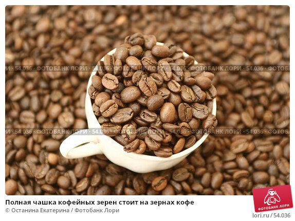 Полная чашка кофейных зерен стоит на зернах кофе, фото № 54036, снято 25 февраля 2007 г. (c) Останина Екатерина / Фотобанк Лори