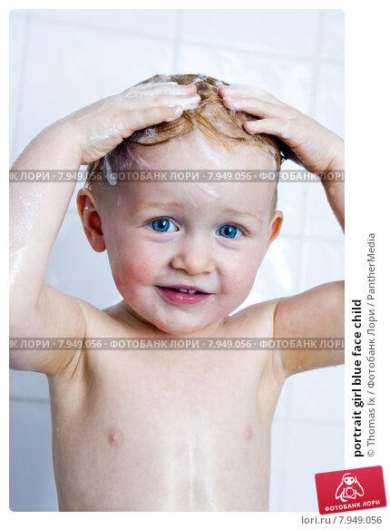 Купить «portrait girl blue face child», фото № 7949056, снято 15 июня 2019 г. (c) PantherMedia / Фотобанк Лори
