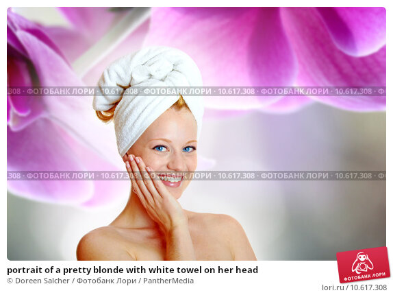 portrait of a pretty blonde with white towel on her head. Стоковое фото, фотограф Doreen Salcher / PantherMedia / Фотобанк Лори