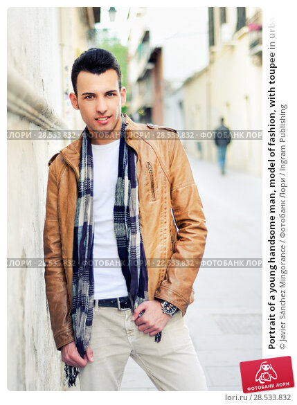 Купить «Portrait of a young handsome man, model of fashion, with toupee in urban background», фото № 28533832, снято 25 апреля 2012 г. (c) Ingram Publishing / Фотобанк Лори