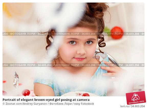 Portrait of elegant brown-eyed girl posing at camera. Стоковое фото, фотограф Zoonar.com/Andrey Guryanov / easy Fotostock / Фотобанк Лори