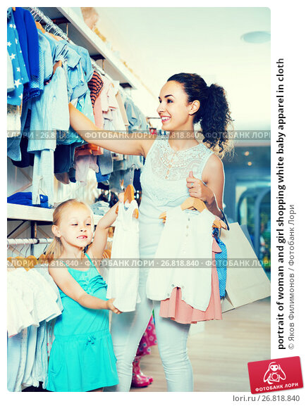 Купить «portrait of woman and girl shopping white baby apparel in cloth», фото № 26818840, снято 20 ноября 2018 г. (c) Яков Филимонов / Фотобанк Лори