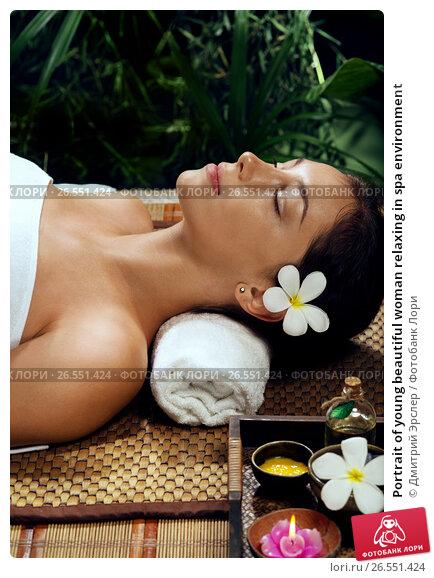 Portrait of young beautiful woman relaxing in spa environment, фото № 26551424, снято 26 марта 2016 г. (c) Дмитрий Эрслер / Фотобанк Лори