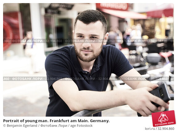 Portrait of young man. Frankfurt am Main. Germany. Стоковое фото, фотограф Benjamin Egerland / age Fotostock / Фотобанк Лори