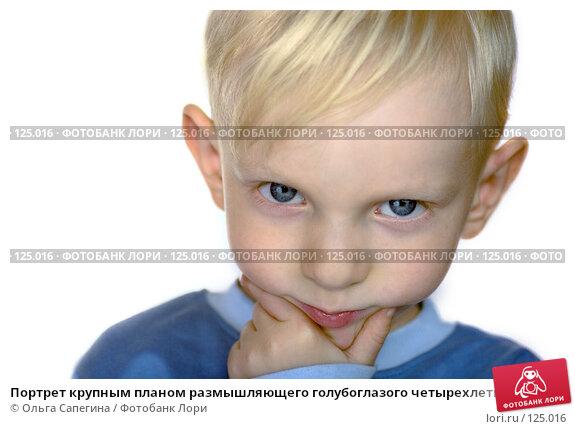 Портрет крупным планом размышляющего голубоглазого четырехлетнего мальчика на белом фоне, фото № 125016, снято 13 ноября 2007 г. (c) Ольга Сапегина / Фотобанк Лори