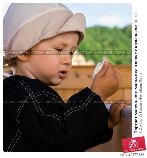 Портрет маленького мальчика в кепке с козырьком на фоне деревянного забора и зеленых зарослей, фото № 277556, снято 12 июня 2006 г. (c) Дмитрий Боков / Фотобанк Лори