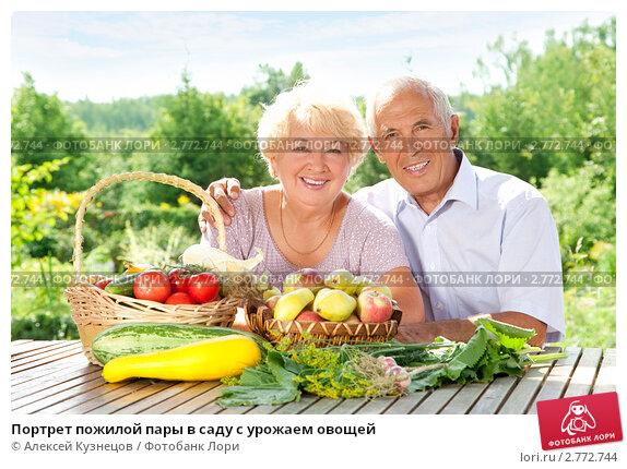 Портрет пожилой пары в саду с урожаем овощей, фото № 2772744, снято 14 августа 2011 г. (c) Алексей Кузнецов / Фотобанк Лори