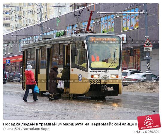 Маршрут трамвая 34 на карте Москвы