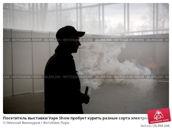 Купить «Посетитель выставки Vape Show пробует курить разные сорта электронных сигарет в выставочном комплексе Сокольники в городе Москве, Россия», фото № 26494244, снято 22 апреля 2017 г. (c) Николай Винокуров / Фотобанк Лори