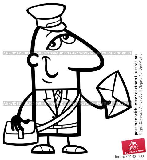 postman with letter cartoon illustration. Стоковое фото, фотограф Igor Zakowski / PantherMedia / Фотобанк Лори
