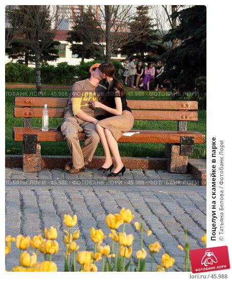 Поцелуи на скамейке в парке, эксклюзивное фото № 45988, снято 19 мая 2007 г. (c) Татьяна Белова / Фотобанк Лори