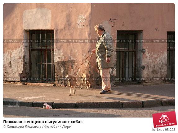 Пожилая женщина выгуливает собак, фото № 95228, снято 4 октября 2007 г. (c) Ханыкова Людмила / Фотобанк Лори