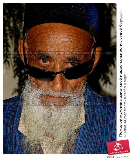 Пожилой мужчина азиатской национальности с седой бородой в синем халате и тюбетейке, фото № 75744, снято 26 июля 2007 г. (c) Ashot  M.Pogosyants / Фотобанк Лори