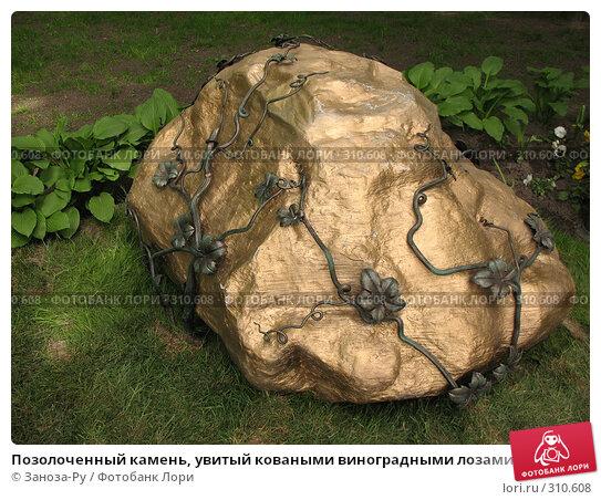 Позолоченный камень, увитый коваными виноградными лозами, фото № 310608, снято 1 июня 2008 г. (c) Заноза-Ру / Фотобанк Лори