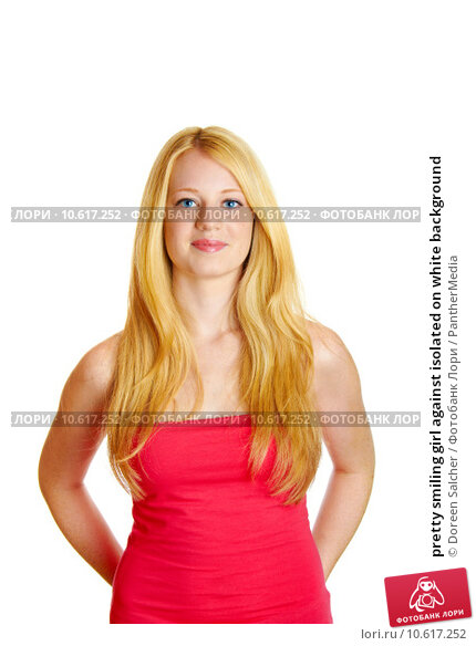pretty smiling girl against isolated on white background. Стоковое фото, фотограф Doreen Salcher / PantherMedia / Фотобанк Лори