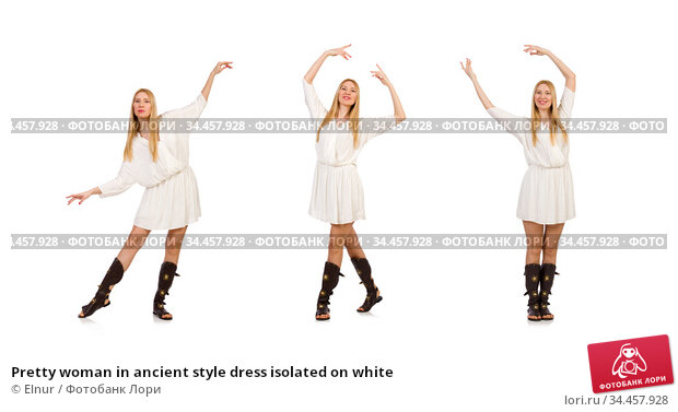 Pretty woman in ancient style dress isolated on white. Стоковое фото, фотограф Elnur / Фотобанк Лори