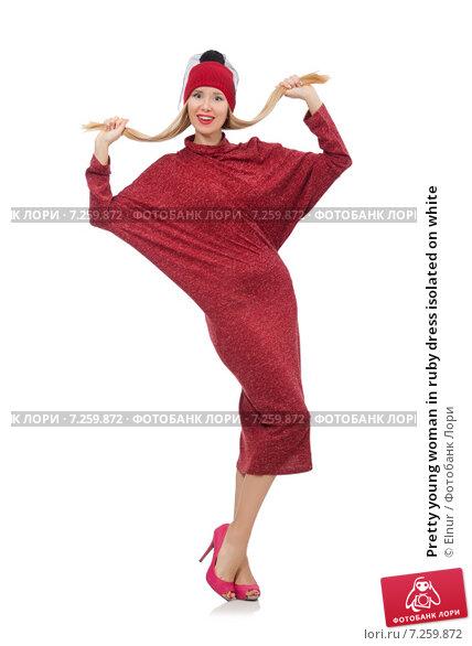 Купить «Pretty young woman in ruby dress isolated on white», фото № 7259872, снято 17 декабря 2014 г. (c) Elnur / Фотобанк Лори