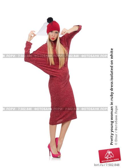 Купить «Pretty young woman in ruby dress isolated on white», фото № 7502848, снято 17 декабря 2014 г. (c) Elnur / Фотобанк Лори