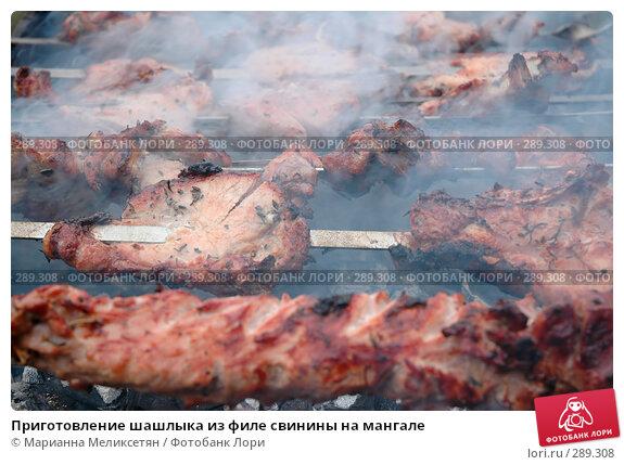 Приготовление шашлыка из филе свинины на мангале, фото № 289308, снято 12 апреля 2007 г. (c) Марианна Меликсетян / Фотобанк Лори