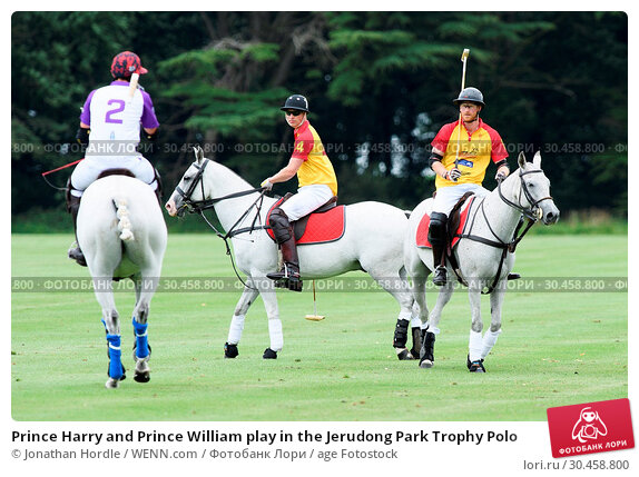 Prince Harry and Prince William play in the Jerudong Park Trophy Polo (2017 год). Редакционное фото, фотограф Jonathan Hordle / WENN.com / age Fotostock / Фотобанк Лори