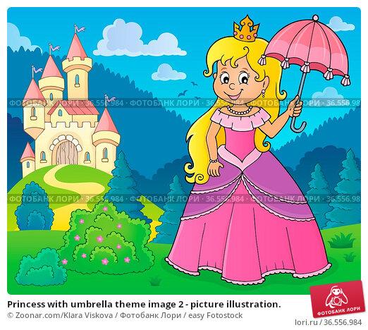 Princess with umbrella theme image 2 - picture illustration. Стоковое фото, фотограф Zoonar.com/Klara Viskova / easy Fotostock / Фотобанк Лори