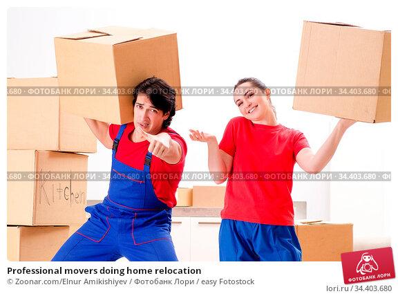 Professional movers doing home relocation. Стоковое фото, фотограф Zoonar.com/Elnur Amikishiyev / easy Fotostock / Фотобанк Лори