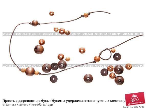 Простые деревянные бусы - бусины удерживаются в нужных местах узелками, фото № 204568, снято 17 февраля 2008 г. (c) Tamara Kulikova / Фотобанк Лори
