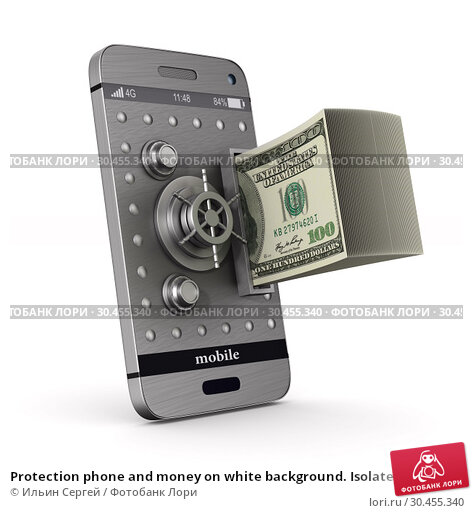 Protection phone and money on white background. Isolated 3D illustration. Стоковая иллюстрация, иллюстратор Ильин Сергей / Фотобанк Лори