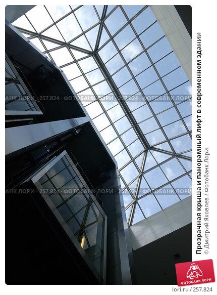 Прозрачная крыша и панорамный лифт в современном здании, фото № 257824, снято 10 апреля 2008 г. (c) Дмитрий Яковлев / Фотобанк Лори