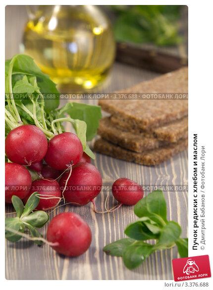 Купить «Пучок редиски с хлебом и маслом», эксклюзивное фото № 3376688, снято 16 марта 2012 г. (c) Дмитрий Бабанов / Фотобанк Лори