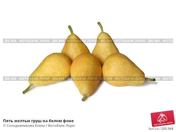 Пять желтых груш на белом фоне, фото № 205944, снято 30 июля 2007 г. (c) Солодовникова Елена / Фотобанк Лори