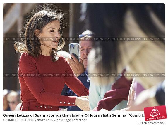 Купить «Queen Letizia of Spain attends the closure Of Journalist's Seminar 'Como Los Medios De Comunicacion Pueden Ayudar A Repoblar La España Rural' on June 12, 2019 in Burgo de Osma, Spain», фото № 30926532, снято 12 июня 2019 г. (c) age Fotostock / Фотобанк Лори