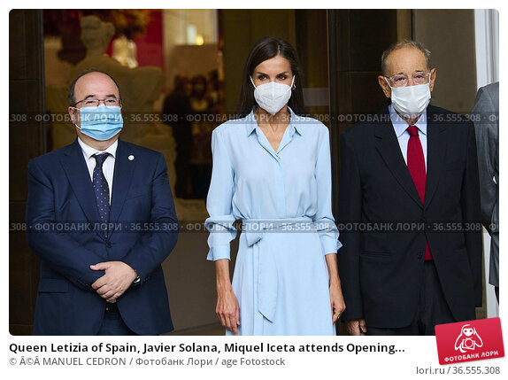 Queen Letizia of Spain, Javier Solana, Miquel Iceta attends Opening... Редакционное фото, фотограф ©MANUEL CEDRON / age Fotostock / Фотобанк Лори
