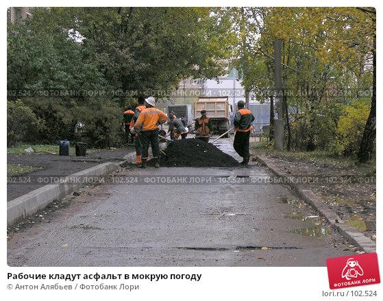 Рабочие кладут асфальт в мокрую погоду, фото № 102524, снято 24 марта 2017 г. (c) Антон Алябьев / Фотобанк Лори