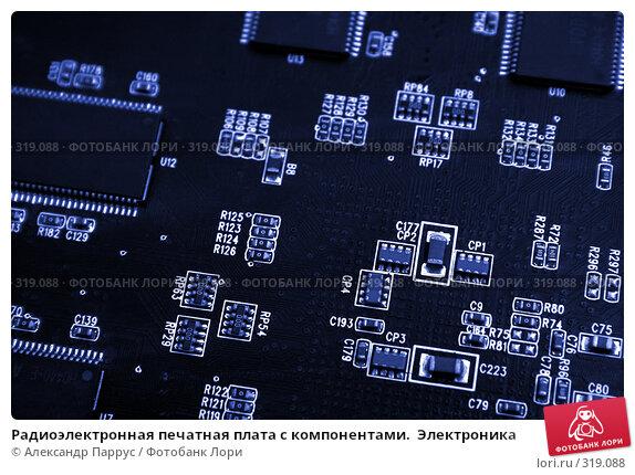 Купить «Радиоэлектронная печатная плата с компонентами.  Электроника», фото № 319088, снято 17 января 2007 г. (c) Александр Паррус / Фотобанк Лори