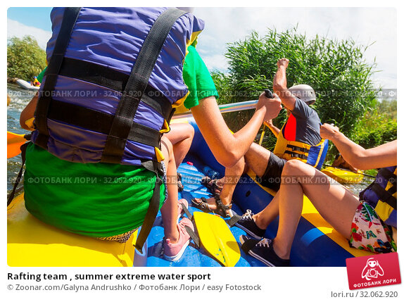 Rafting team , summer extreme water sport. Стоковое фото, фотограф Zoonar.com/Galyna Andrushko / easy Fotostock / Фотобанк Лори