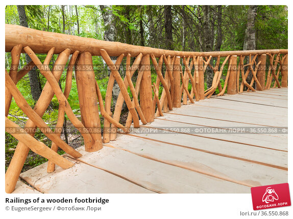 Railings of a wooden footbridge. Стоковое фото, фотограф EugeneSergeev / Фотобанк Лори