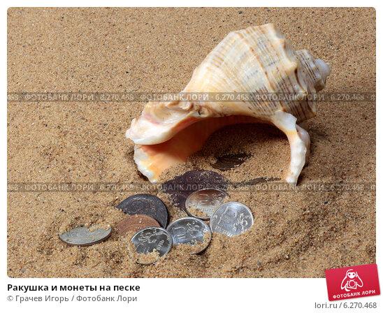 Купить «Ракушка и монеты на песке», фото № 6270468, снято 9 августа 2014 г. (c) Грачев Игорь / Фотобанк Лори