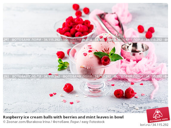 Купить «Raspberry ice cream balls with berries and mint leaves in bowl», фото № 34115292, снято 11 июля 2020 г. (c) easy Fotostock / Фотобанк Лори
